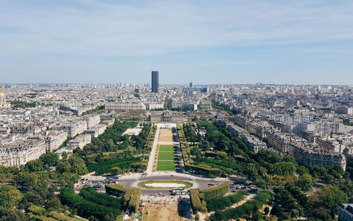 panoramisch uitzicht eiffeltoren parijs